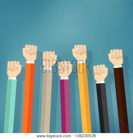Group of fists raised in air. Victory, Revolution, solidarity, strike, change protest and many different mean for graphics design vector
