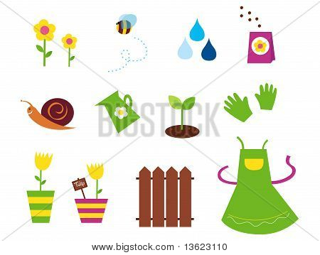 Spring, garden & agriculture symbols and elements - green, yellow and pink