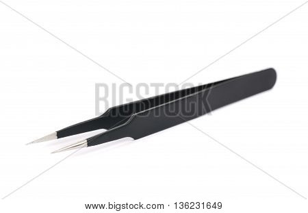 Black metal anti-static tweezers tool isolated over the white background