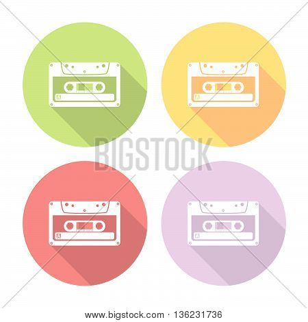 Audio Cassette Flat Icons Set