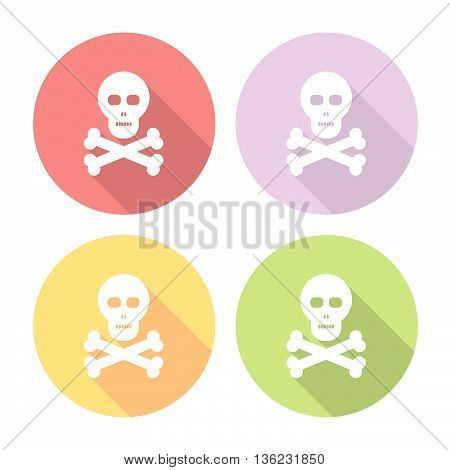 Skull And Bones Flat Icons Set