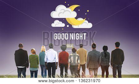 Good Night Sleepy Moon Stars Concept