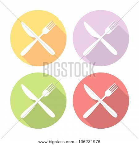 Fork And Knife Crossed Flat Icons Set