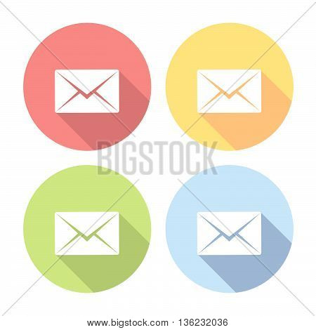 Mail Envelope Flat Icons Set