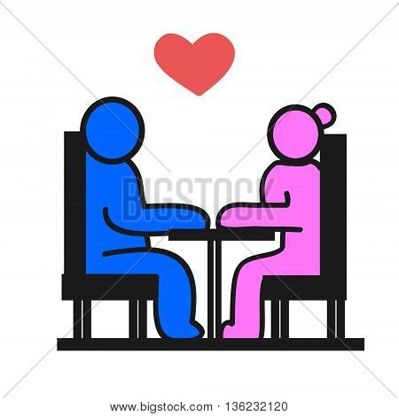 Symbol icon. Woman and man sitting at the table lovers meet in the restaurant. The image on a white background vector illustration