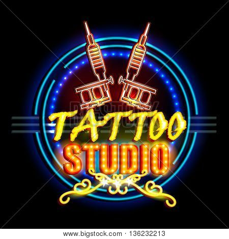 easy to edit vector illustration of Neon Light signboard for Tattoo Studio