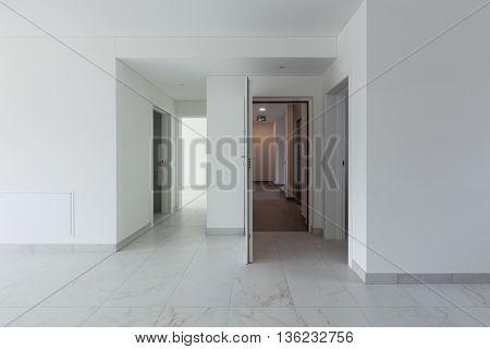 Interior of empty apartment, entrance door