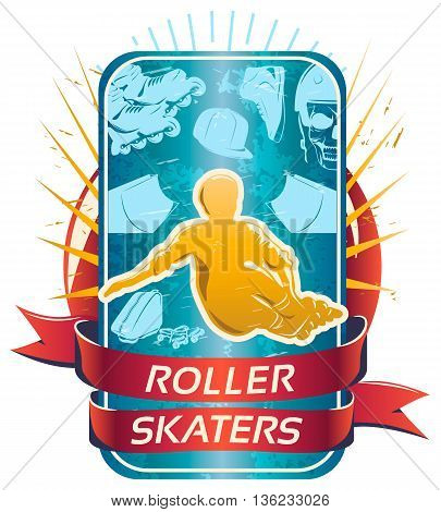 Roller skaters design with yellow silhouette of sportsman in center on  background of smartphone vector illustration