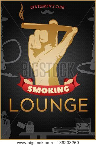 Smoking dark poster with cigar in hand and headline smoking lounge and red ribbon vector illustration