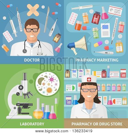 Medicine icon set with descriptions of doctor pharmacy marketing laboratory and pharmacy and drug store vector illustration