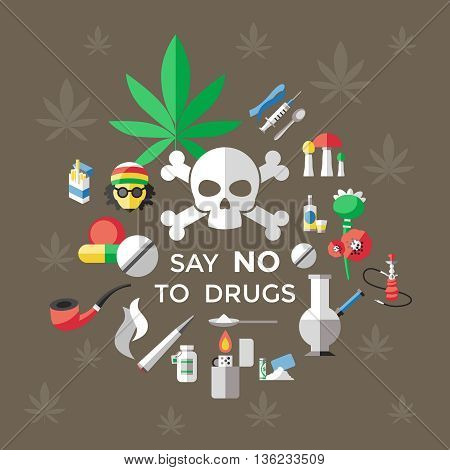 Flat drugs poster with title say no drugs and on brown background with marijuana leaf vector illustration