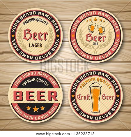 Round beer label or emblem set with descriptions of premium beer and place to locate brand vector illustration