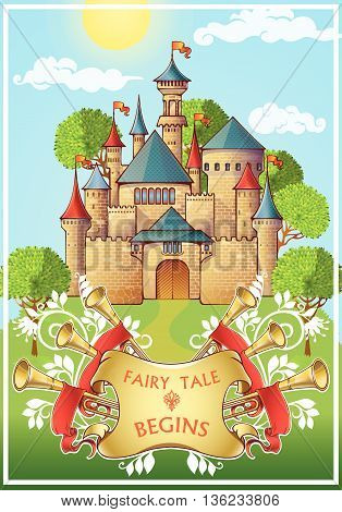 Fairy tale about knight poster with medieval castle green trees around on blue sky background vector illustration