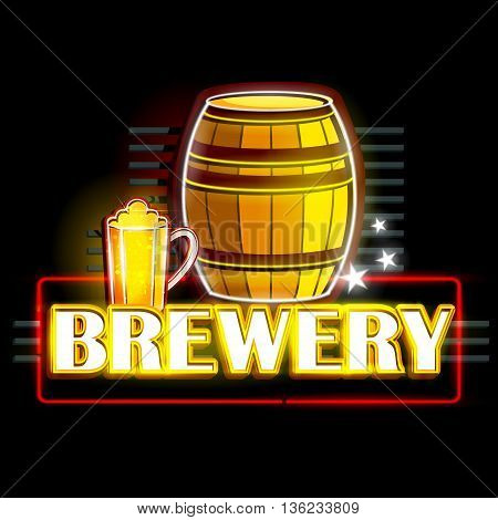 easy to edit vector illustration of Neon Light signboard for Brewery
