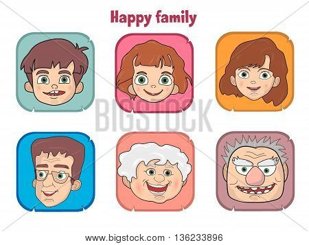 Cute happy family members faces vector illustration