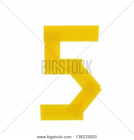 Number five symbol made of insulating tape isolated over the white background