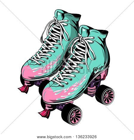 Quad roller skates with laced boots of blue pink color on white background isolated vector illustration