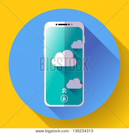 Smartphone flat icon, mobile phone icon vector. Flat 2.0 design style.