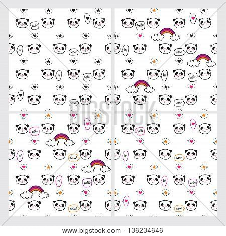 Set of cute pandas, rainbows, speech bubbles, hearts and stars. Three seamless patterns. Wrapping paper, cloth.