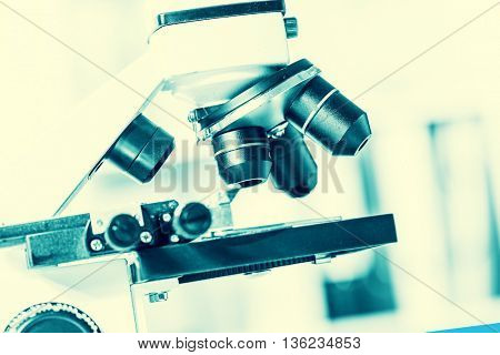 microscope in medical laboratory. Toned photo