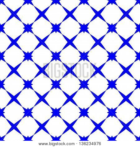 Star blue geometric seamless pattern. Fashion graphic background design. Modern stylish abstract texture. Colorful template for prints textiles wrapping wallpaper website etc. VECTOR illustration