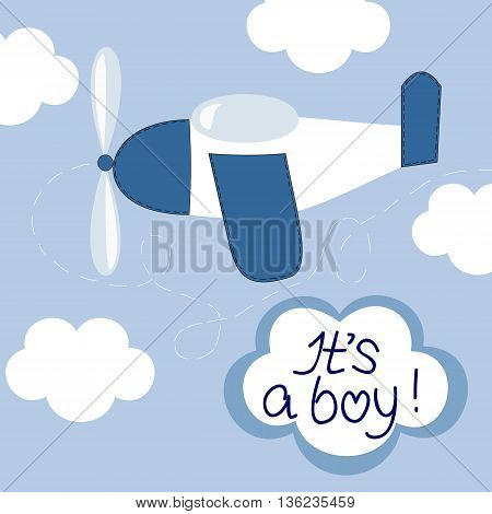 Flying in the sky airplane and lettering It s a boy