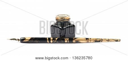 Ink writing tools composition of an ink bottle and dip tip pen, isolated over the white background