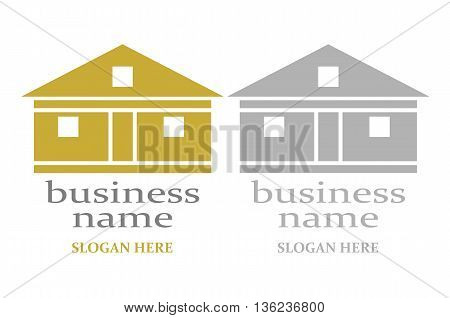 Logo with house - colorful and gray.