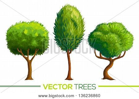 Green vector cartoon style trees set isolated on white background
