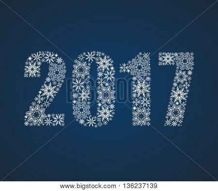 Happy New Year 2017. Figures from snowflakes