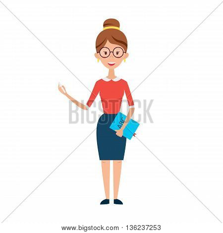 Woman Teacher With Glasses Chalk And Book