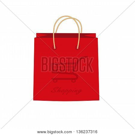 Shopping bag with shopping cart - vector illustration.