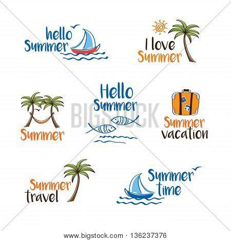 Hello summer. Set of summer symbols. Hand drawn illustrations. Doodles, sketch.