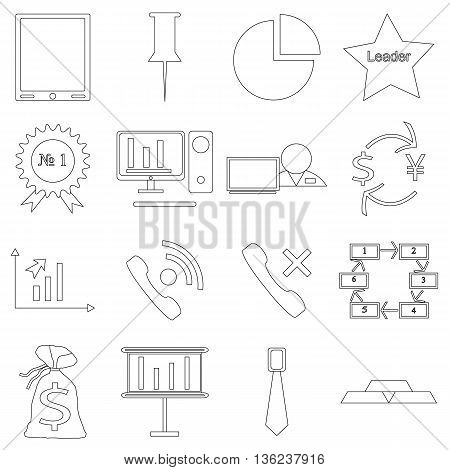 A set of contour business icons on white background. Fine lines