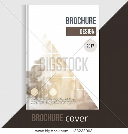 Professional Vector brochure cover templates with blured city landscape and lines. Business presentation . A4 size Annual report template. Clean catalogue
