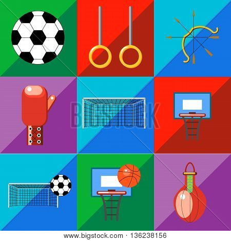 A set of sports icons on a two-tone background in the style of flat