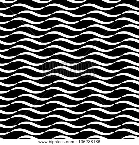 Wavy line black seamless pattern. Fashion graphic background design. Modern stylish abstract texture.Monochrome template for prints textiles wrapping wallpaper website etc. VECTOR illustratio