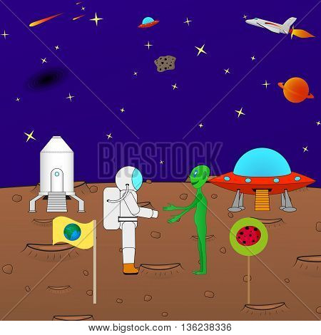 Vector illustration of the concept of peace in the universe. Alien astronaut shaking hands. Beautiful cartoon funny background of the cosmos.