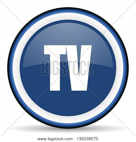 tv round glossy icon, modern design web element