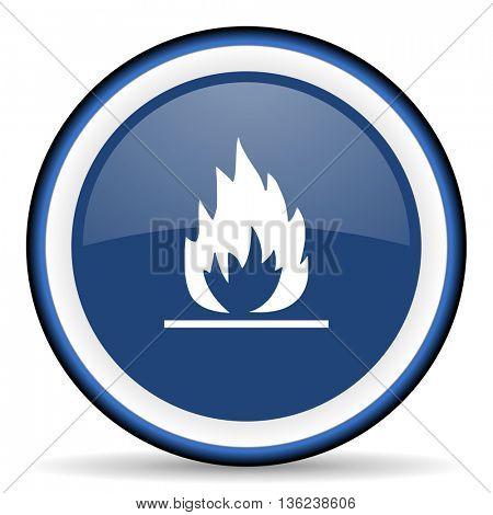 flame round glossy icon, modern design web element