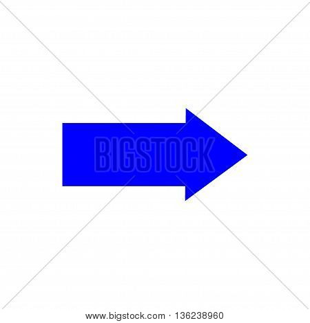 Arrow sign blue icon isolated on white background. Vector to right symbol marks. Blue sticker isolated on white background vector illustration. Flat vector image. Vector illustration.