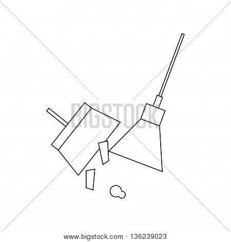 Cleaning garbage, broom and dustpan icon in outline style isolated on white background