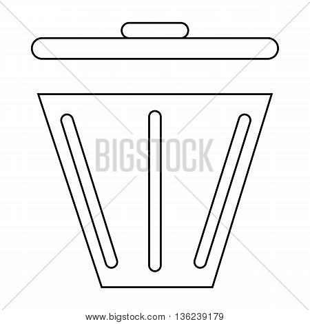 Trash can icon in outline style isolated on white background