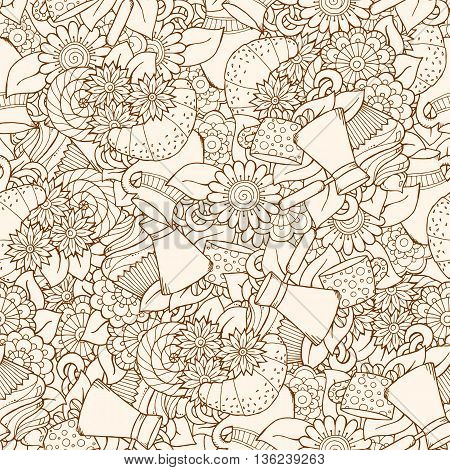 Seamless tea and coffee doodle pattern with paisley and flowers. Ethnic zentangle pattern template can be used for menu, wallpaper, pattern fills. Hand Drawn. Grunge pattern.