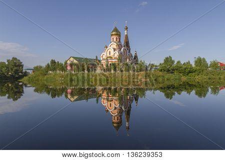 Reflection of a church in Almaty, Kazakhstan.