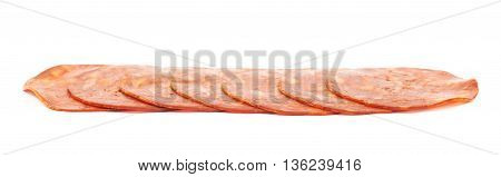 Line of sliced Italian sausage salame ventricina isolated over the white background