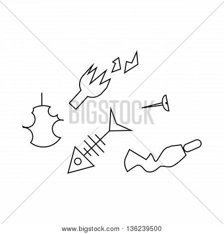 Pile of household trash icon in outline style isolated on white background