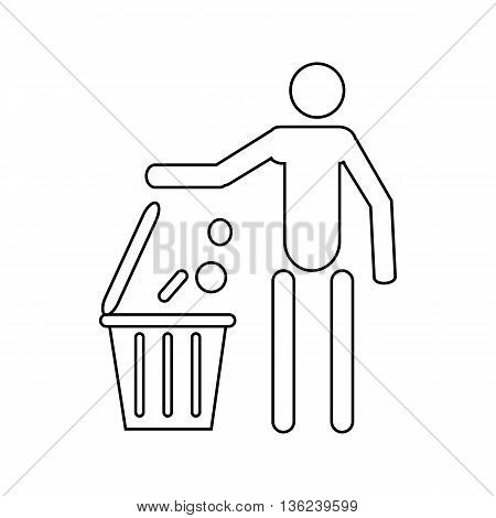 Man throwing garbage in a bin icon in outline style isolated on white background