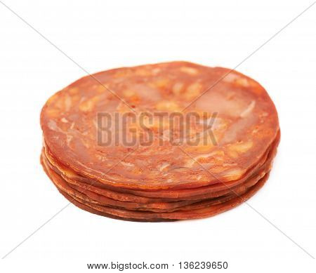 Pile of Italian sausage salame ventricina isolated over the white background