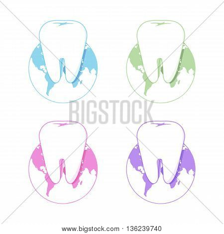 Isolated white tooth vector logo set. Round shape. Tooth hygiene logotype collection on the white background. Dental implants icons group. Caries treatment sign